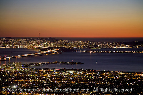 San Francisco Skyline from Berkeley Hills, Oakland Bay Bridge and San Francisco Bay